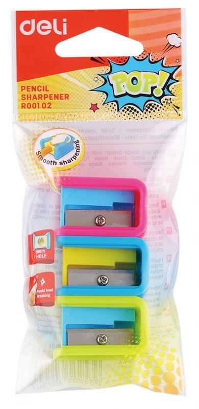 Точилка для карандашей ручная Deli ER00102 1 отверстие пластик ассорти точилка index ish002 пластик ассорти