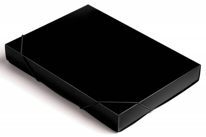 Папка короб Бюрократ, цвет: черный, формат А4. 816205 короб архивный вырубная застежка бюрократ ba80 08blck пластик 0 8мм корешок 80мм 330х245мм черный