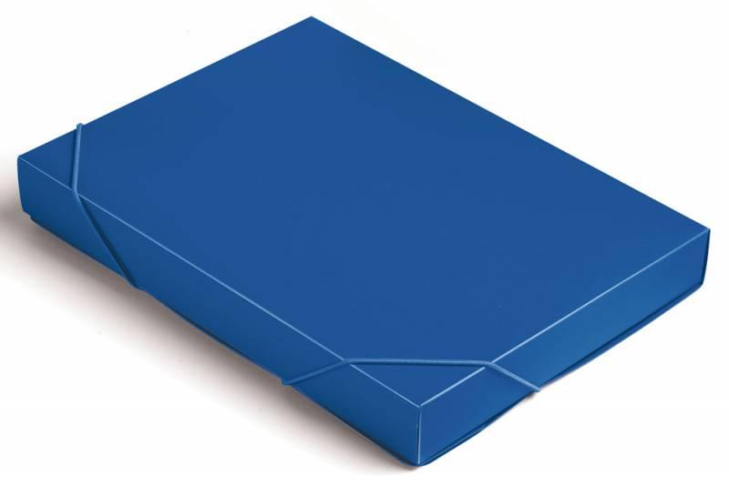 Папка короб Бюрократ, цвет: синий, на резинке. 816206