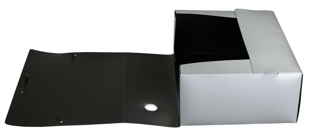 Папка архивная на резинке Silwerhof, 1006789, серебристый металлик, формат А4. папка архивная на резинке silwerhof perlen 311913 76 полипропилен 1мм корешок 100мм a4 мокрый асфаль 5 шт кор