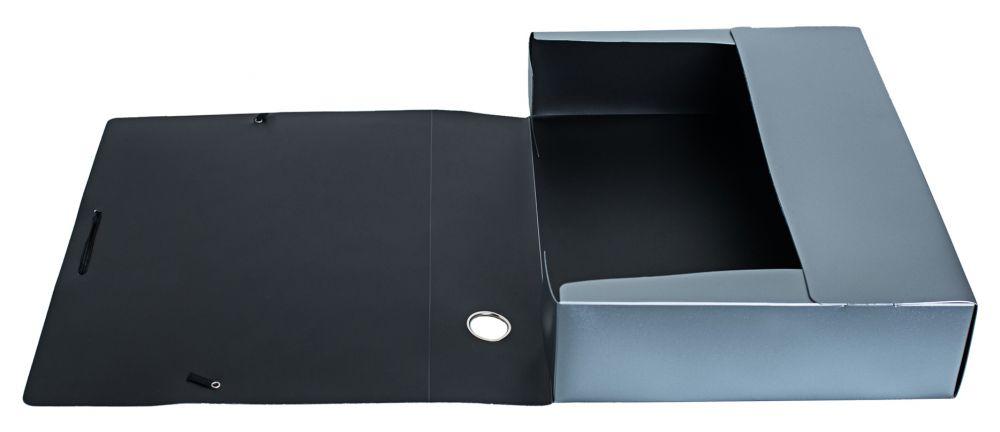Папка архивная на резинке Silwerhof Perlen, 418657, серебристый металлик, А4 папка архивная на резинке silwerhof perlen 311913 76 полипропилен 1мм корешок 100мм a4 мокрый асфаль 5 шт кор