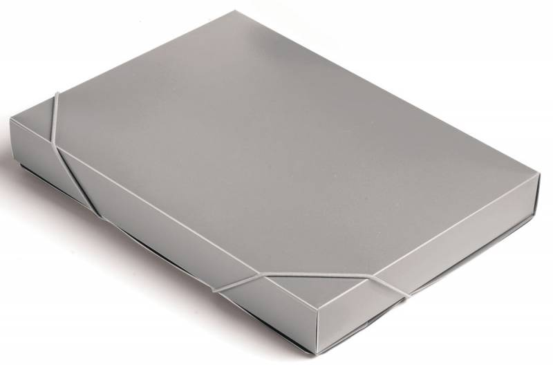 Папка-короб на резинке Бюрократ -BA40/07GREY пластик 0.7мм корешок 40мм A4 серый короб архивный вырубная застежка бюрократ ba80 08blck пластик 0 8мм корешок 80мм 330х245мм черный