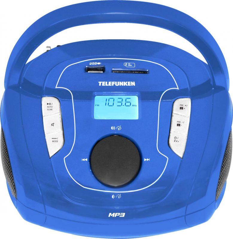 Аудиомагнитола Telefunken TF-SRP3471B синий 3Вт/MP3/FM(dig)/USB/BT/SD цена