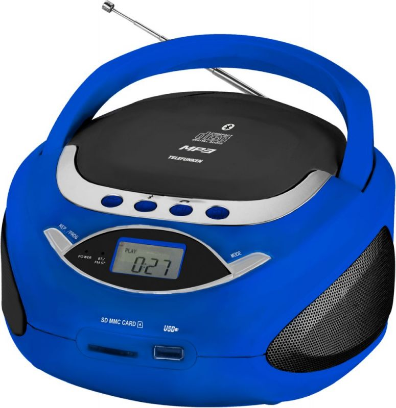 Аудиомагнитола Telefunken TF-CSRP3494B, синий радиомагнитола cd telefunken tf csrp3480 white