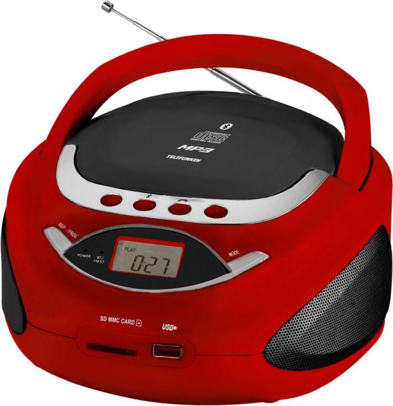 Аудиомагнитола Telefunken TF-CSRP3494B, 1088073, красный радиомагнитола cd telefunken tf csrp3480 white