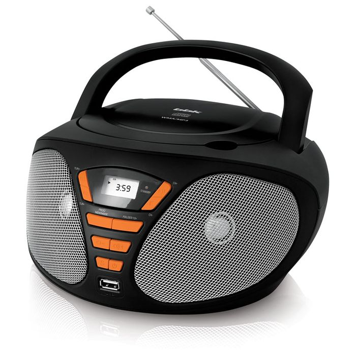 Аудиомагнитола BBK BX180U 390414, черный, оранжевый bbk bx180u white cyan cd mp3 магнитола