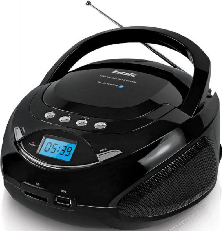 Аудиомагнитола BBK BS09BT 1033902, черный bbk bs09bt белый c оранжевым