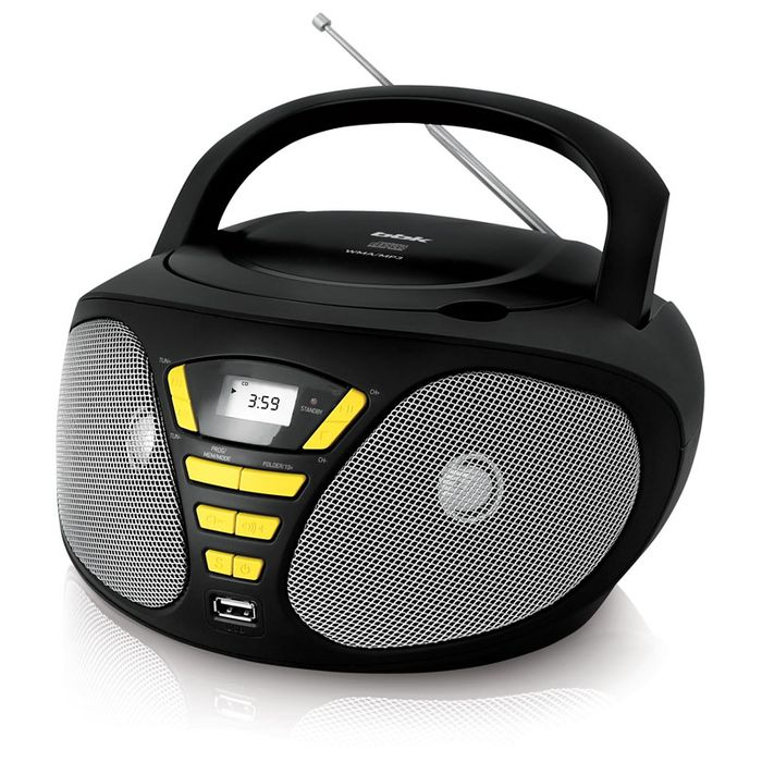 Аудиомагнитола BBK BX180U 390412, черный, желтый аудиомагнитола bbk bx195u желтый