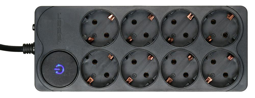 Сетевой фильтр Ippon BK-238 8 розеток, 3 м, 588044, черный ippon bk258 8 розеток 5м черный