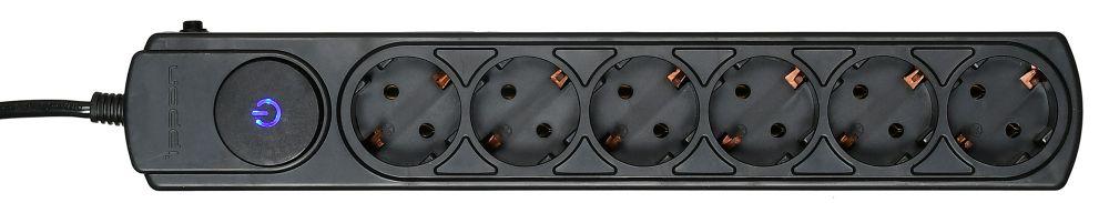 Сетевой фильтр Ippon BK252 6 розеток, 5 м, 689478, черный ippon bk258 8 розеток 5м черный