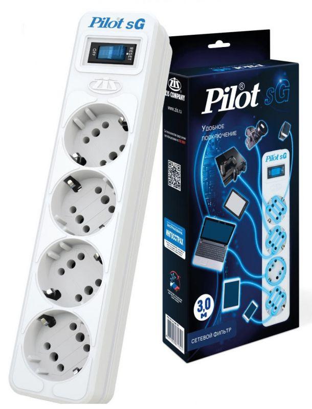 Сетевой фильтр Pilot SG 4x8, 3 м, 1056291, белый сетевой фильтр pilot sg 4 розетки 7 м
