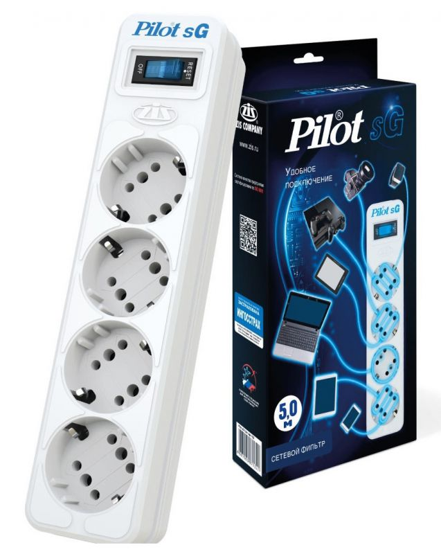 Сетевой фильтр Pilot SG 4х8, 5 м, 1056292, белый сетевой фильтр pilot s 5м белый
