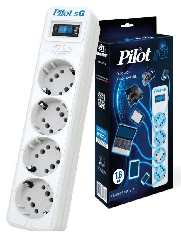 Сетевой фильтр Pilot SG 4x8, 1.8 м, 1056289, белый сетевой фильтр pilot sg 4 розетки 7 м