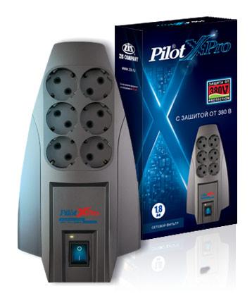 Сетевой фильтр Pilot X-Pro 6 розеток 1.8 м, 45601, серый