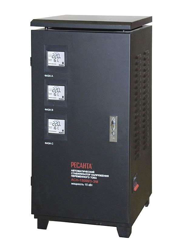 Стабилизатор напряжения Ресанта ,АСН-15000/3-ЭМ, электромеханический, трехфазный, цвет: черный