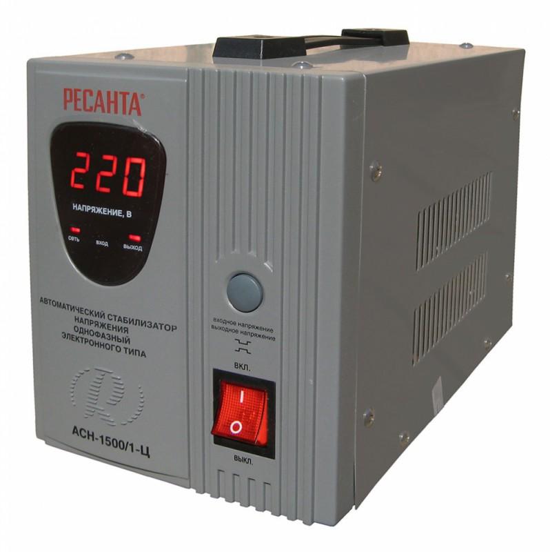 Стабилизатор напряжения Ресанта, АСН-1500/1-Ц, электронный, однофазный, цвет: серый стабилизатор напряжения ресанта ach 10000 1 ц 1 розетка серый