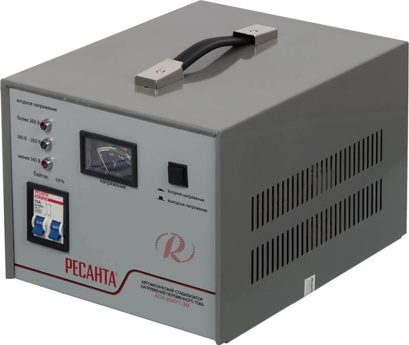 Стабилизатор напряжения Ресанта, АСН-2000/1-ЭМ ,электромеханический, однофазный, цвет: серый стабилизатор elitech асн 1000рн