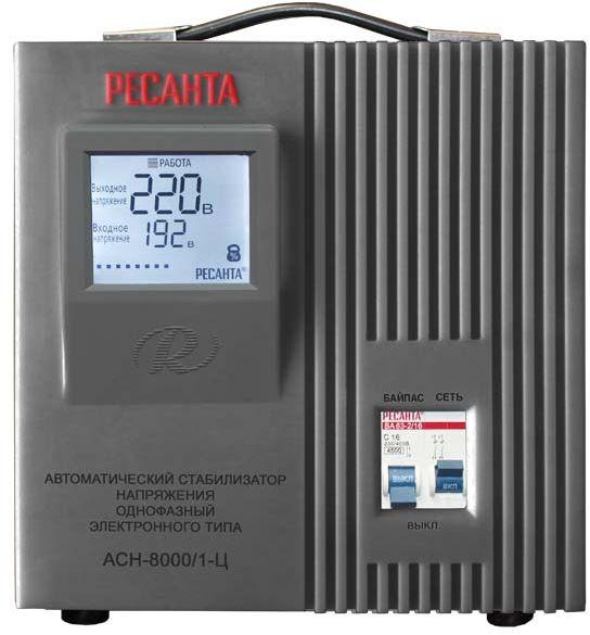 Стабилизатор напряжения Ресанта, АСН-8000/1-Ц, электронный, однофазный, цвет: серый стабилизатор напряжения ресанта асн 20000 1 эм