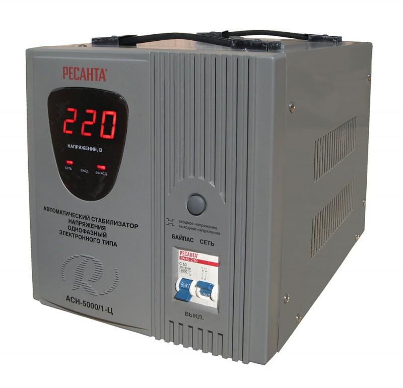 Стабилизатор напряжения Ресанта, АСН-5000/1-Ц, электронный, однофазный, цвет: серый цены онлайн