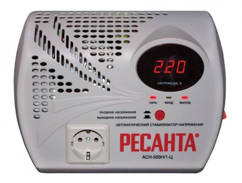 Стабилизатор напряжения Ресанта АСН-500 Н/1-Ц, цвет серый стабилизатор напряжения ресанта ach 10000 1 ц 1 розетка серый