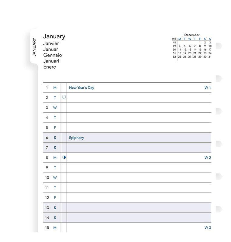 Запасной блок для тетради Filofax Month Planner 2019, цвет: белый, A5