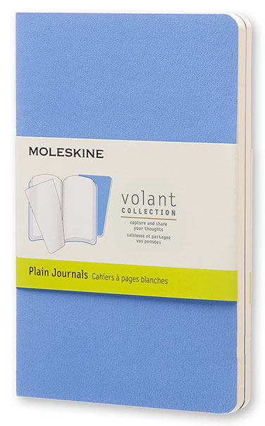 Набор блокнотов Moleskine VOLANT, 80 листов, нелинованный, цвет: синий/темно-синий, 90x140 мм, 2 шт
