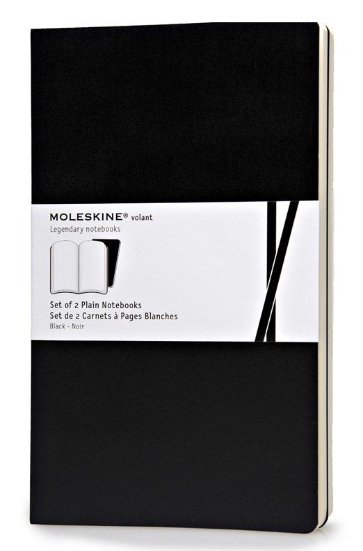 Блокнот Moleskine VOLANT, 96 листов, нелинованный, цвет: черный, 130х210 мм, 2 шт блокнот moleskine volant qp723b12b11 large 130х210мм 96стр нелинованный мягкая обложка синий темно синий 2шт