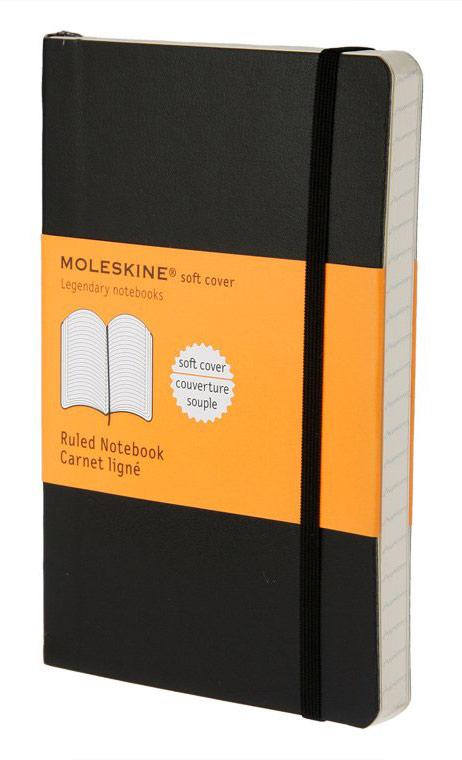 Блокнот Moleskine CLASSIC SOFT, 192 листа, линейка, цвет: черный, 90x140 мм еженедельник moleskine classic wknt pocket soft 90x140мм 144стр мягкая обложка черный