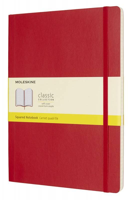 Блокнот Moleskine CLASSIC SOFT, 192 листа, цвет: красный, 190х250 мм блокнот moleskine classic soft xlarge 190х250мм 192стр пунктир мягкая обложка красный