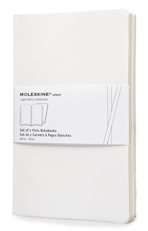 Набор блокнотов Moleskine VOLANT, 96 листов, нелинованный, цвет: белый, 130х210 мм, 2 шт