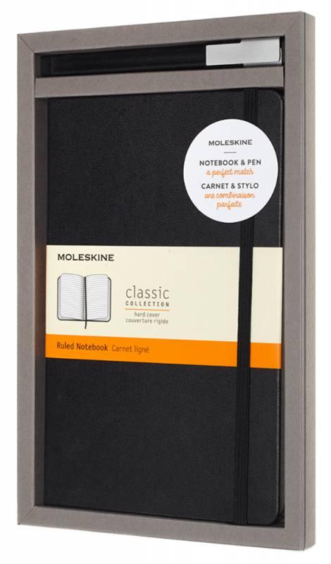 Набор Moleskine BUNDLE VERTICAL, блокнот, ручка Classic Large, линейка, цвет: черный