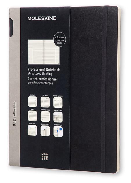 Блокнот Moleskine PROFESSIONAL SOFT, 192 листа, цвет: черный, 190х250 мм блокнот moleskine classic soft xlarge 190х250мм 192стр пунктир мягкая обложка красный