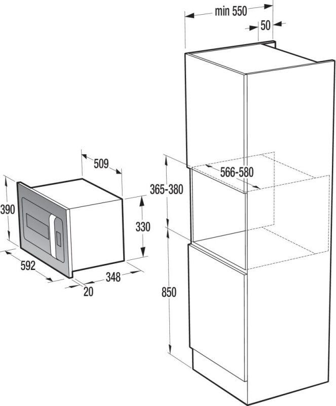 Микроволновая печь Gorenje BM235ORAW, 900Вт, встраиваемая, цвет белый/серебристый микроволновая печь gorenje bm235orab 23л 900вт черный серебристый встраиваемая