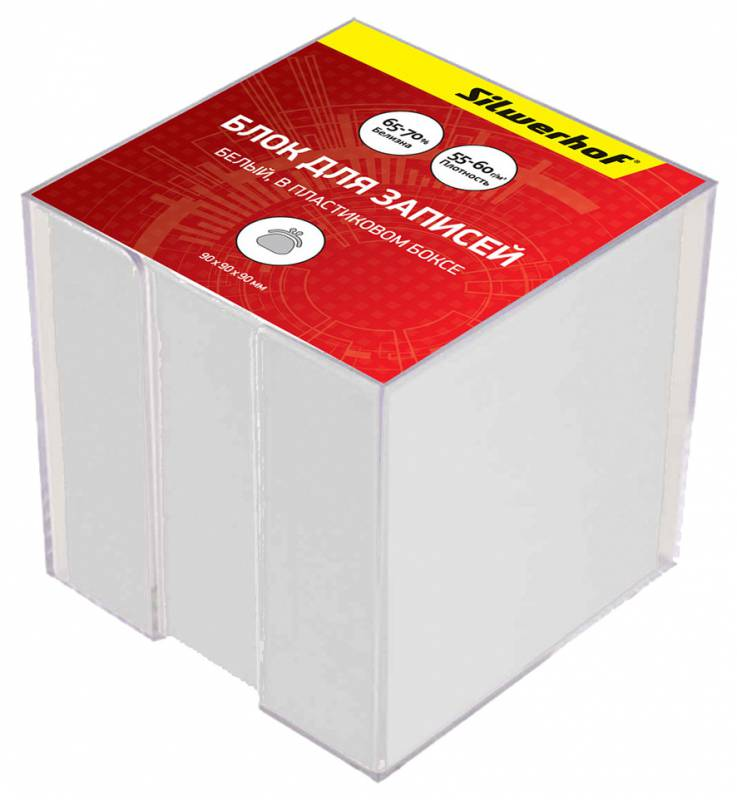 Блок для записей Silwerhof Эконом, цвет: белый, 9 х 9 х 9 см. 701012