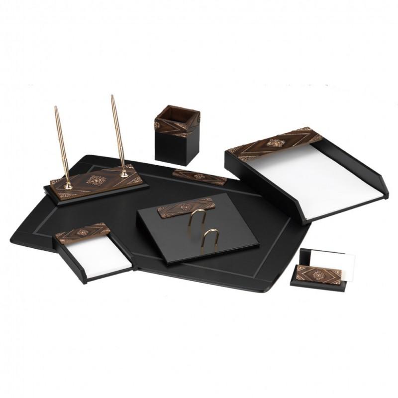 Настольный канцелярский набор Good Sunrise W6AQ-1/C , 7 предметов, цвет: черный/коричневый officespace настольный канцелярский набор витраж 11 предметов