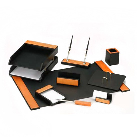 Настольный канцелярский набор Good Sunrise H8G-1A/C, 9 предметов, цвет: черный/оранжевый настольный канцелярский набор good sunrise m5b 5 5 предметов цвет красный