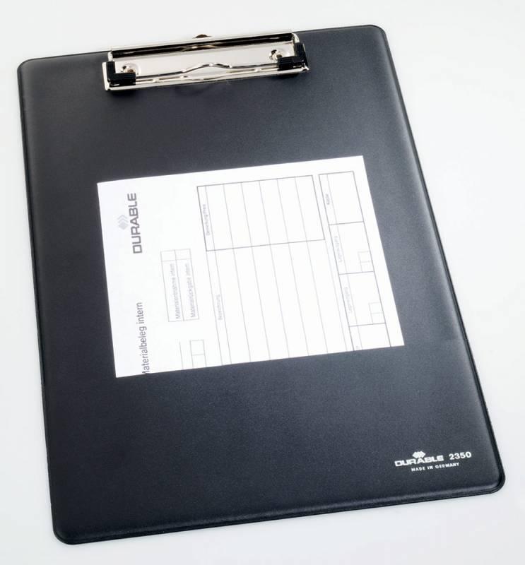 Папка-планшет Durable Clipboard 2350-01 с карманом и крючком, цвет: черный, A4 папка клип борд durable clipboard folder 2359 01 a5