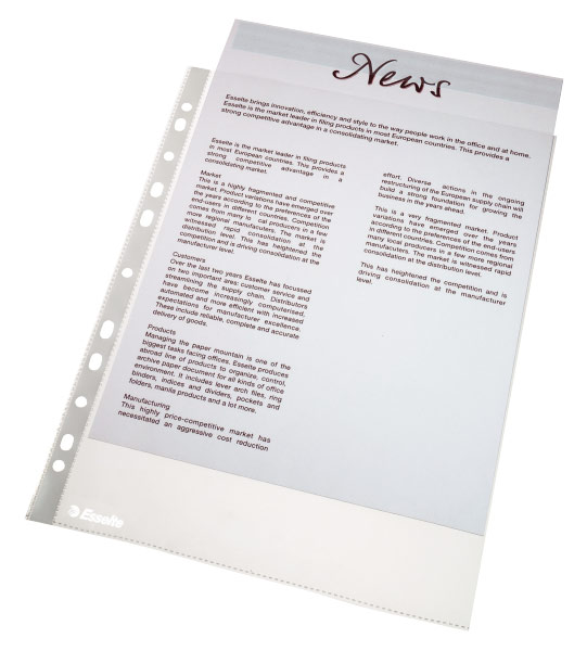 Папка-вкладыш Esselte, формат А4, цвет: прозрачный, 100 шт папка вкладыш durable 2668 19 прозрачный глянцевые а4 вертикальный 48мкм упак 100шт 10 шт кор