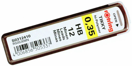 Грифель ROTRING Tikky, 0,35 мм, HB, 12 шт
