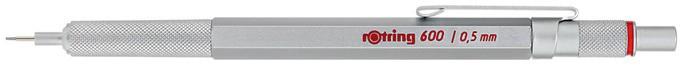 Карандаш механический ROTRING 600, 0,5 мм, цвет корпуса: серебристый