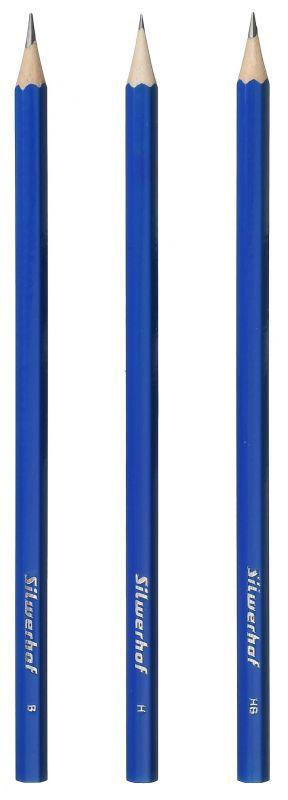 Набор чернографитных карандашей Silwerhof Zeichner, HB, 2 мм, цвет корпуса: синий, 3 шт набор текстовыделителей silwerhof prime 4 цвета 108031 00