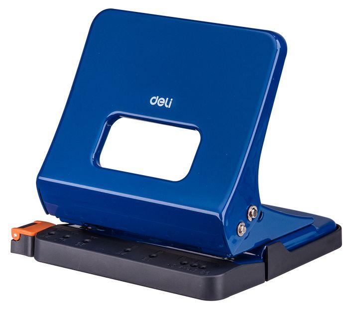 Дырокол Deli E0142blue металлический с линейкой, цвет синий дырокол goodmark синий 20л металл
