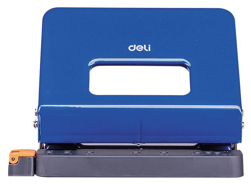 Дырокол Deli E0141blue металлический с линейкой, цвет синий дырокол goodmark синий 20л металл