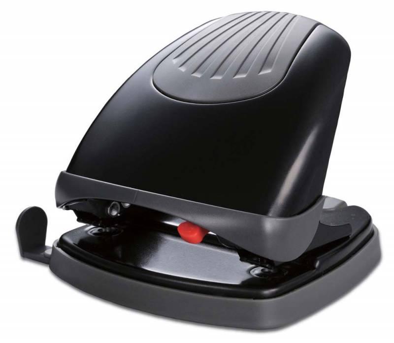 Дырокол Kw-Trio Lever-Tech Effortless 96Z8BLCK металлический с линейкой, цвет черный