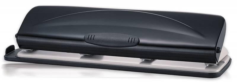 Дырокол Kw-Trio 9680 металл, пластик с линейкой, цвет черный цены