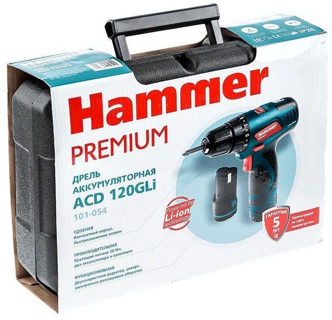 Дрель-шуруповерт Hammer ACD120GLi PREMIUM, аккумулятор hammer drl600s premium