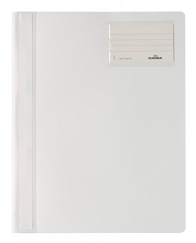 Папка-скоросшиватель Durable 2500-02 формат A4+, с карманом на лицевой стороне, цвет: белый. папка скоросшиватель durable 2500 02 формат a4 с карманом на лицевой стороне цвет белый