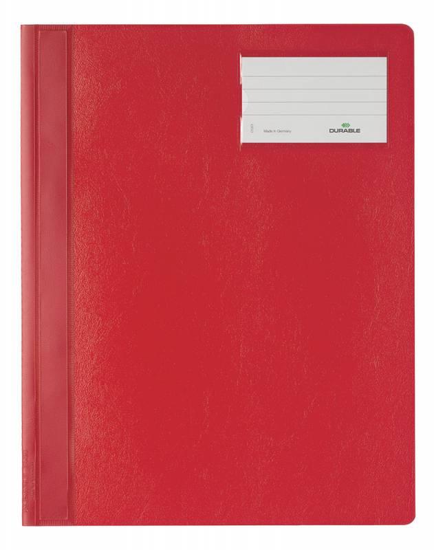 Папка-скоросшиватель Durable 2500-03 формат A4+, с карманом для визиток, цвет: красный. папка скоросшиватель durable 2500 02 формат a4 с карманом на лицевой стороне цвет белый