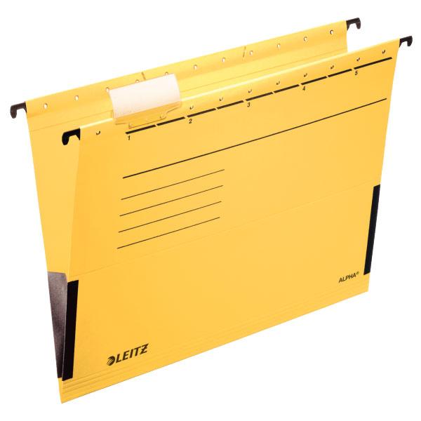 Папка подвесная Esselte Leitz Alpha 19860115 A4 желтый с огранич.формата kokuyo высокая прозрачная офисная сумка книга с документами карманная файловая книга папка с листом бумаги a4 60 страниц желтый wcn tcb2610y