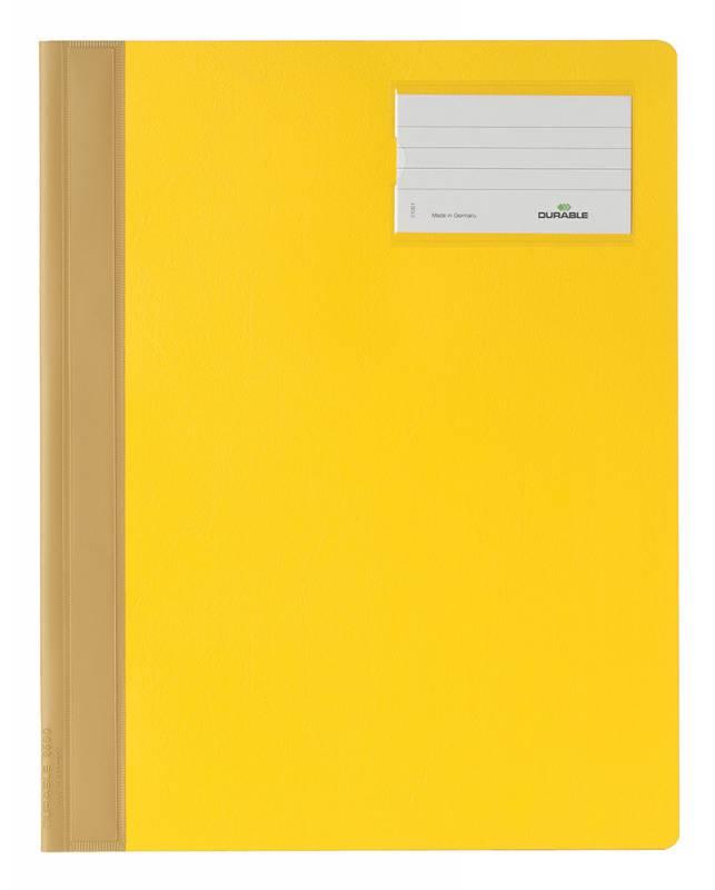 Папка-скоросшиватель Durable, ПВХ, цвет: желтый, A4+ папка скоросшиватель durable 2500 02 формат a4 с карманом на лицевой стороне цвет белый